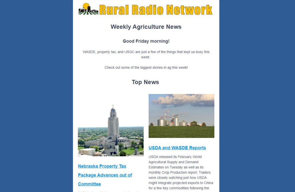 NEWSLETTER: Weekly Ag News from the Rural Radio Network