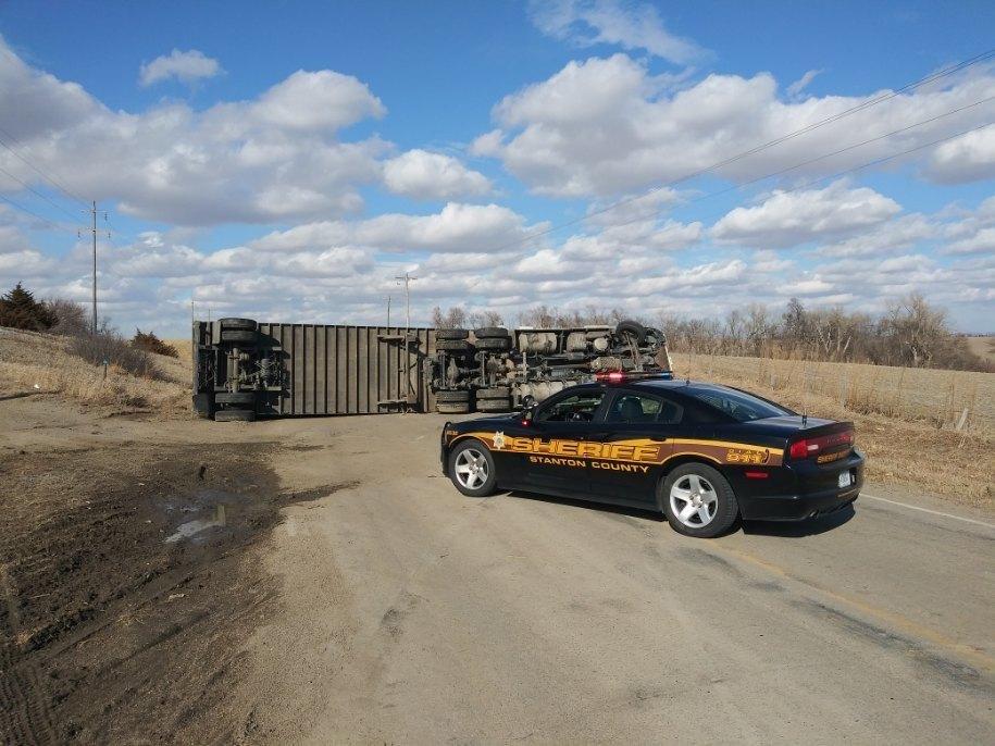 Semi Overturns On Highway 57 North Of Stanton