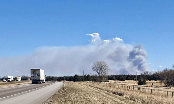 Area fire departments battle rangeland fire south of Brady