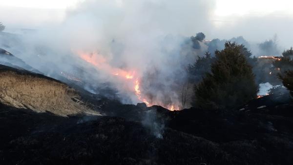 Multiple fire departments battle Custer County rangeland fire