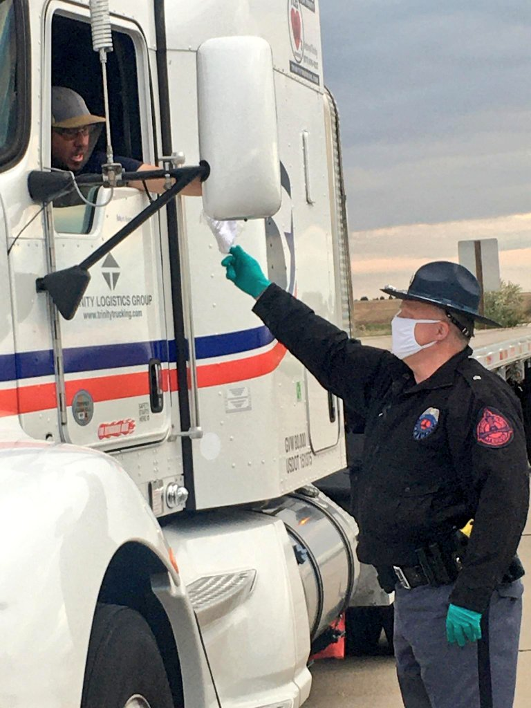 Troopers Distribute 95,000 Masks to Truck Drivers in Two Days