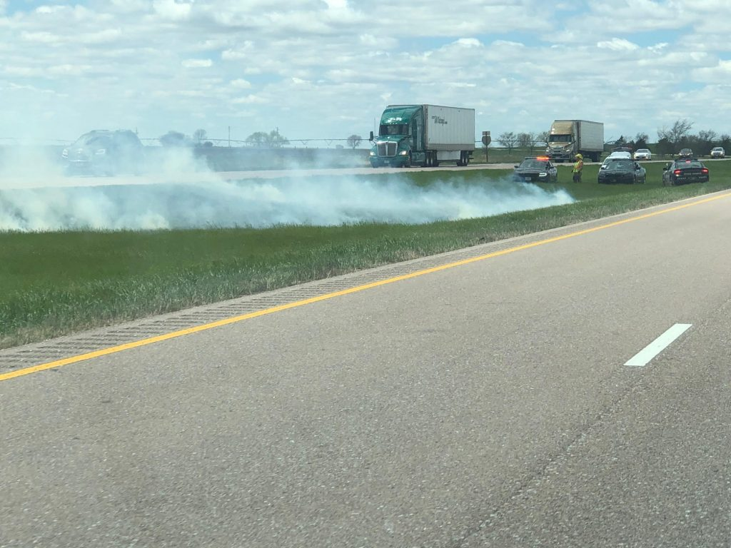 Area Departments Tend to Grass Fire Near Bradshaw Exit