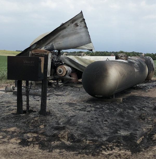 (Audio) Irrigation motor & propane tanks destroyed by fire