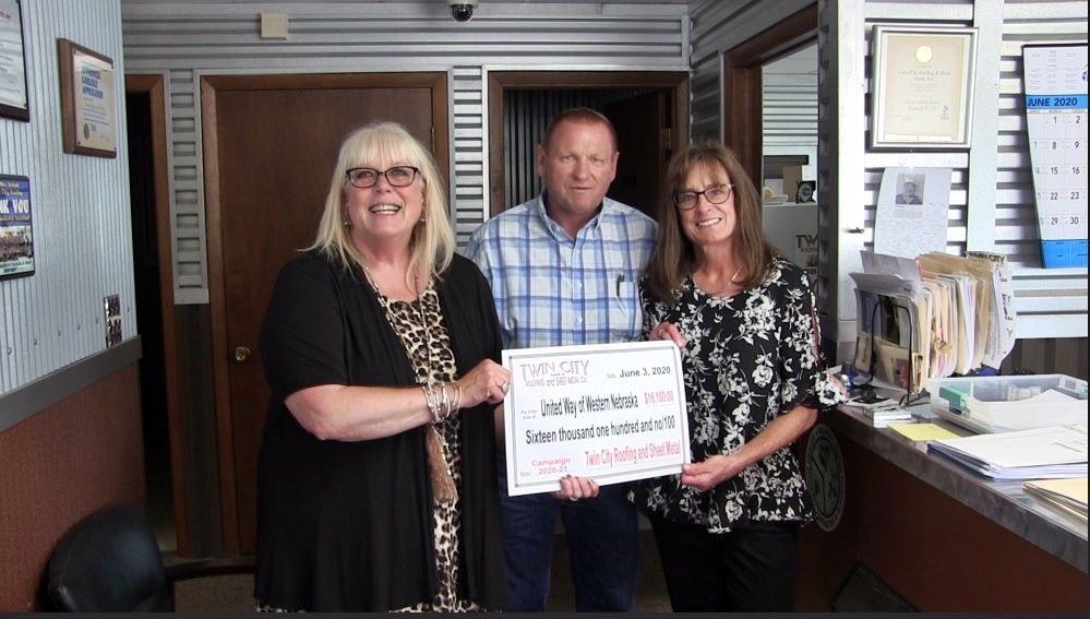 Twin City Roofing presents $16,100 donation to United Way of Western Nebraska