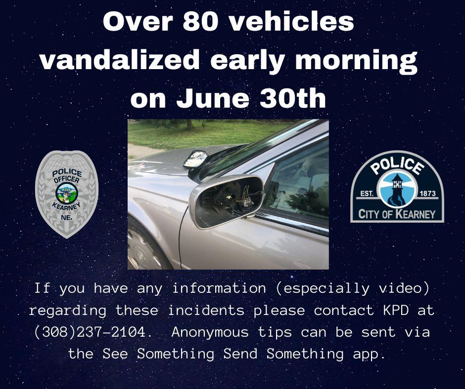 Kearney Police seek assistance in vehicle vandalisms