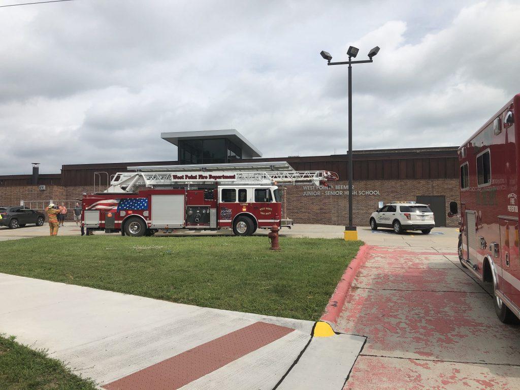 (AUDIO) Sprinkler Head goes off, sprays water at West Point-Beemer High School