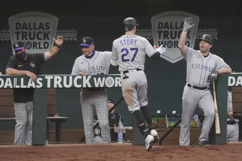 Story hits 2 HRs after Kluber exit, Rockies top Rangers 5-2