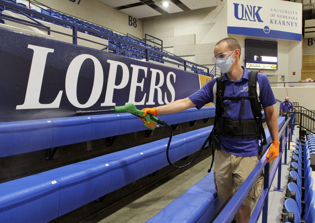 Face Masks, Hand Sanitizer and Plastic Barriers All Part of UNK's Safety Plan.