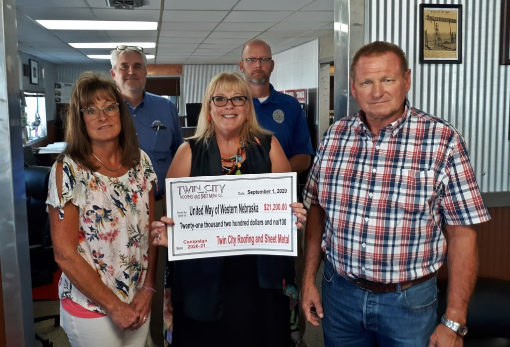 Twin City Roofing Presents $21,200 Donation to United Way of Western Nebraska