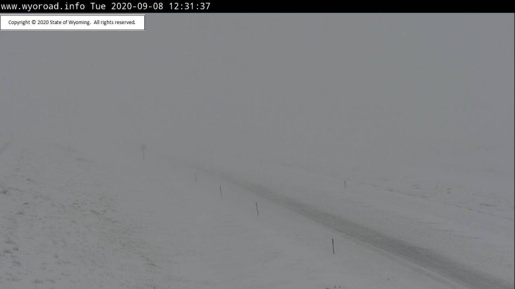 Late Summer Snow Storm Snarls I-80 Traffic in Wyoming