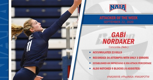 Concordia's Nordaker takes home NAIA Volleyball Attacker of the Week
