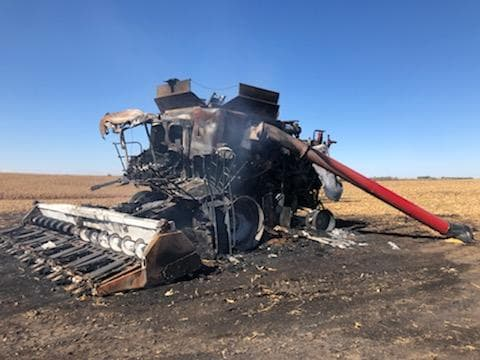 Nebraska State Fire Marshal's office investigating rural Clay County farm machinery fire