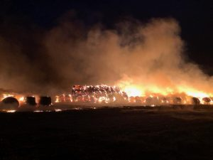 VIDEO: Large hay bale fire on northern edge of Lexington
