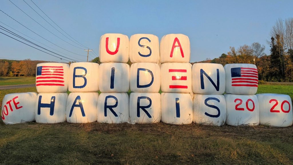 Farm's display supporting Biden, Harris goes up in flames