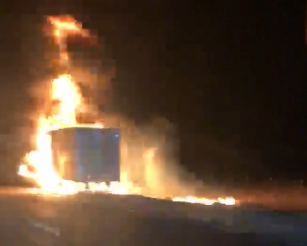 UPDATED: (VIDEO) Semi catches fire, driver escapes with no injuries