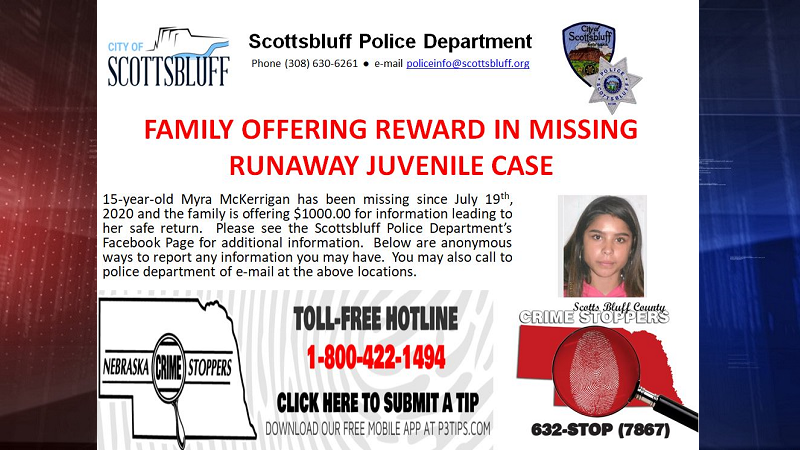 Reward Offered for Information on Scottsbluff Teen Runaway
