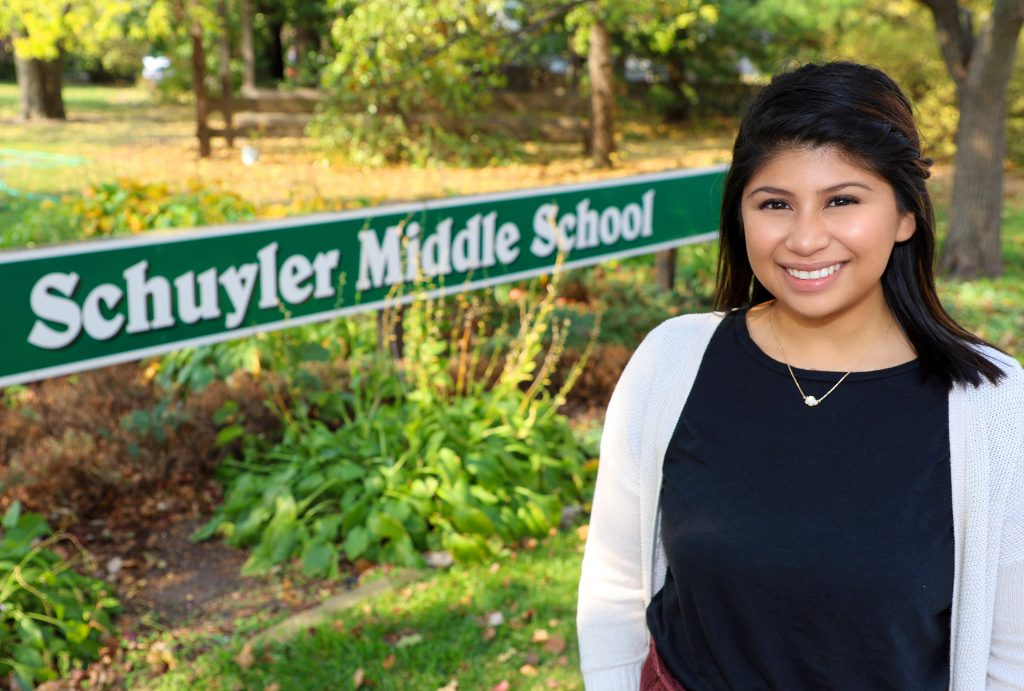Odalys Cruz aims to inspire students in her hometown.