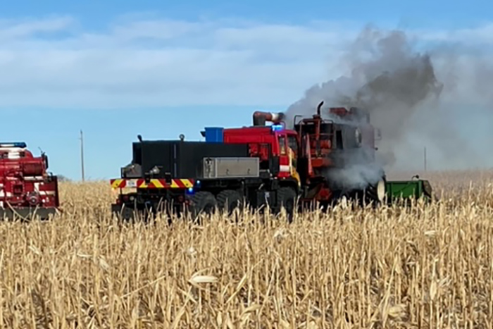Windy conditions: likely cause of combine fire