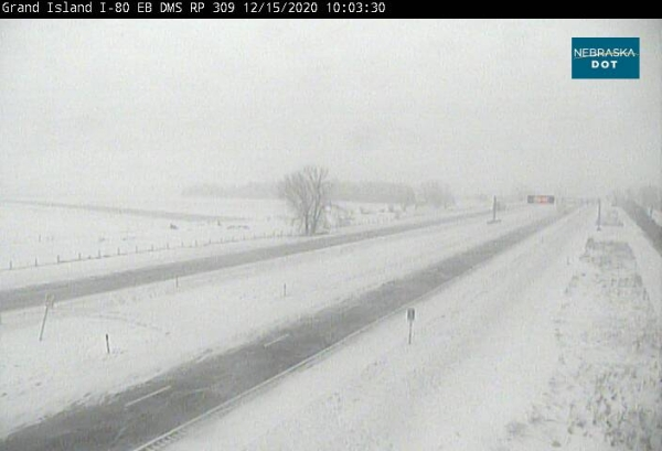 I-80 in both directions: Road is partially covered with snow