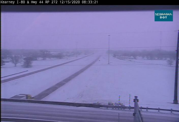 I-80 in both directions — Road is partially covered with snow