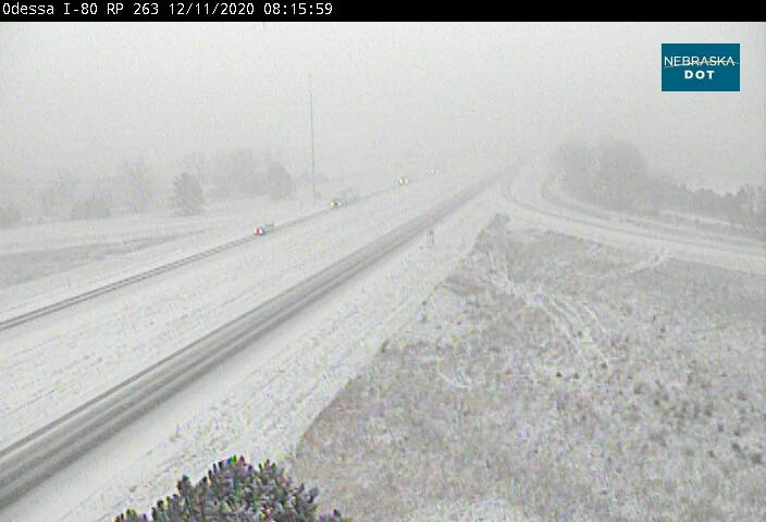 I-80 in both directions, completely covered in snow