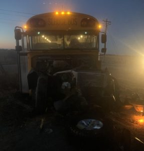 Pickup-school bus collision near Loomis, no serious injuries