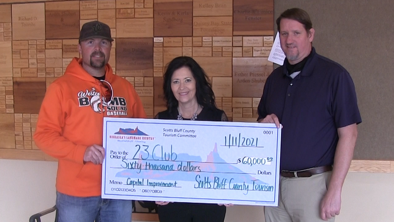 Scotts Bluff Co. Tourism Committee Presents Grant Check for 23 Club Project