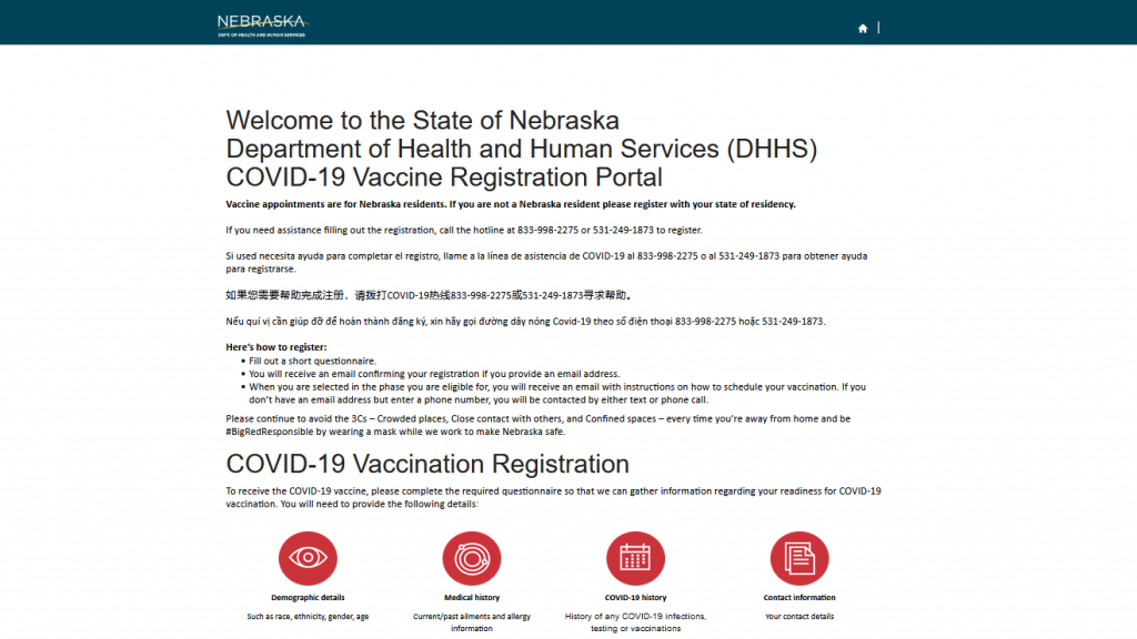 Nebraska Statewide COVID Vaccination Registration Website Goes Live