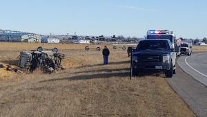 One Injured in Grain Semi Crash on South Edge of Gering Tuesday Morning